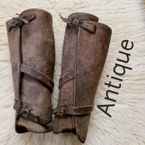 Shoes - Antique Military Army Leather Legging Spat Vintage